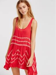free people voile and lace trapeze slip dress women cherry combo