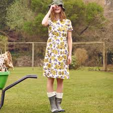 painted rose slub dress spotted in the press cathkidston
