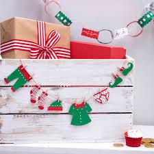 elf peg clothing washing line christmas bunting garland by ginger