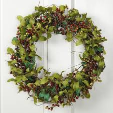 spring sprigs and burgundy berry wreath sturbridge yankee workshop