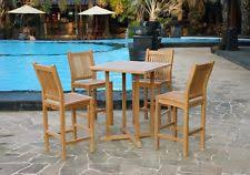 Poolside Table And Chairs Teak Outdoor Furniture Ebay