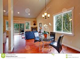 house with vaulted ceiling open floor plan stock photo image