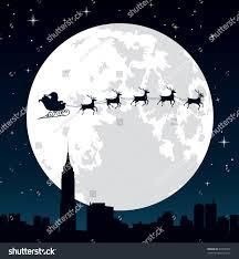 santa claus his reindeer sleigh backlit stock vector 87958504