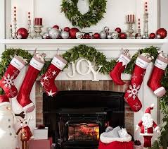 red fireplace mantel decorations christmas celebrations
