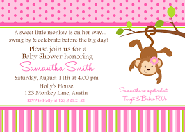 monkey baby shower printable invitation personalized pink monkey