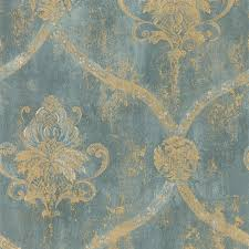 wallpaper french faux aqua blue large damask with gold aqua blue