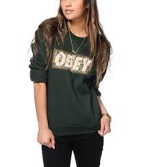 obey drug rug green crew neck sweatshirt zumiez