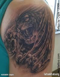 ripped skin tiger left shoulder tattooshunt com