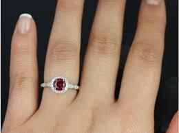 flower halo engagement ring rosados box 6mm white gold crimson ruby