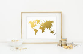 2014 world map gold foil art print faux gold foil office decor
