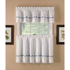 Blue And White Window Curtains Country Classics Lace Embroidered Floral Blue Tier Curtains