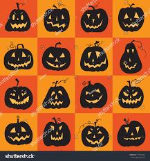 set scary halloween pumpkin pumpkins designs stock vector