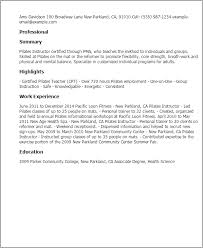 Sample Of Resume For Teachers by Professional Pilates Instructor Templates To Showcase Your Talent