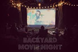 backyard movie night party home outdoor decoration