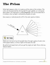 what is light in science prism worksheet education com