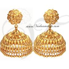 gold jhumka earrings large umbrella jhumlas 1 gm gold plated india jhumki jhumka
