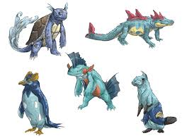 realistic pokemon sketches water 2nd evolutions by