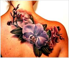 great colorful orchids tattoo on shoulder blade tattoos book