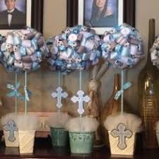 Baptism Decorations Boy Baptism Christening Themed Ribbon Topiary In Baby Blue And Grey