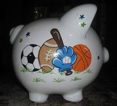 sports themed piggy banks personalized painted piggy bank with sports theme connor s