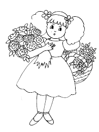 Coloriage fille aux gerbes de fleurs  Tête à modeler