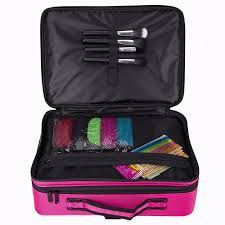 women professional makeup organizer kit pink cosmetic case large
