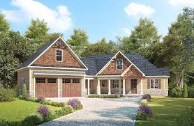 Angled Garage House Plans by Craftsman With Angled Garage With Bonus Room Above 36079dk