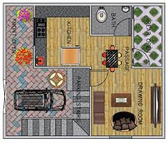 1 bhk floor plan for 25 x 30 feet plot 750 square feet happho