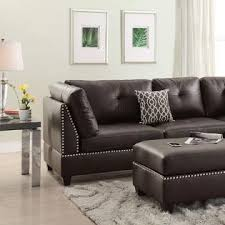 Leather Sectional With Chaise And Ottoman Esofastore Espresso Bonded Leather Accent Stud Trim Sectional Sofa
