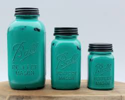 3 piece teal mason jar canister set kitchen distressed half