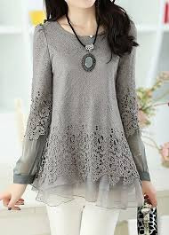 sleeve lace blouse layered sleeve lace panel grey blouse rosewe com usd 30 95