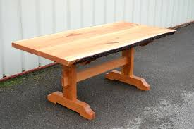 Cherry Dining Table Live Edge Cherry Dining Table With Trestle Base Corey