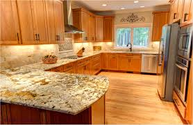 simple granite kitchen countertops with maple cabinets glass door