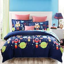 Personalized Girls Bedding by Deep Blue And Colorful Boys And Girls Cartoon Rocket And Stars