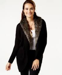 sweater with faux fur collar thalia sodi faux fur collar cardigan only at macy s sweaters