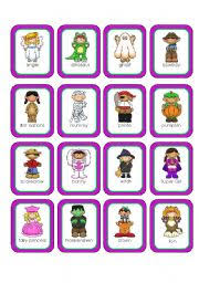 halloween costumes memory cards 20 cards