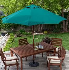 Patio Dining Sets With Umbrella Outdoor Brown Conventional Varnished Wooden Dining Set With Green