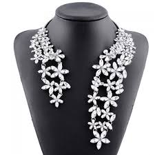 necklace rhinestone images Wholesale hollow out rhinestone floral cuff necklace white online jpg