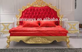 european classical diamond red fabric king size golden bed view