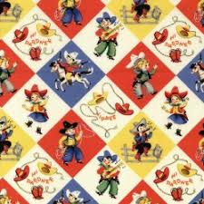 cowboy wrapping paper cx1486 yippee check children boys cowboy lasso playful retro kids