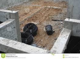 drain tile and sump housing in basement stock photo image 42635241