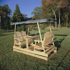 Porch Glider Swings Furniture Rustic Wooden Outdoor Double Glider Swing With Table