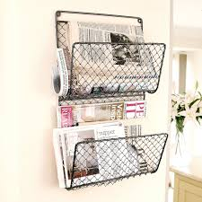 table inspiring wall mounted chicken wire letter magazine store