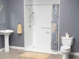 bathroom attractive white light blue walk in shower no glass with