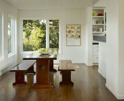 Dining Room Wall Art White Walls Wood Trim Dining Room Transitional With Trestle Table