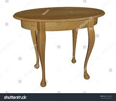 Wooden Table Round Wooden Table Four Feet White Stock Illustration 142610038