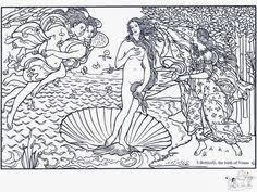 aphrodite birth venus sandro botticelli coloring