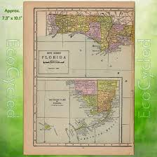 Vintage Florida Map by Vintage Atlas Map Of 1920 Florida Antique Map Full Color Inches