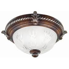 2 light volterra bronze flushmount with etched glass