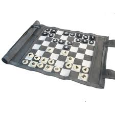 leatherette roll up travel chess set